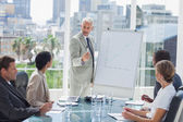 Serious businessman giving a presentation — Stock Photo