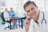 Smiling doctor calling — Stock Photo