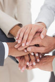 Business teams hands together — Stock Photo