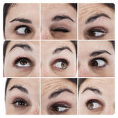 Collage of various pictures showing the eyes of a woman — Stock Photo