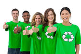 Cheerful group of environmental activists giving thumbs up — Stock Photo