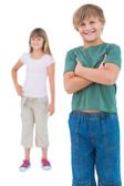 Happy young children standing — Stock Photo