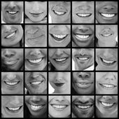 Collage of various pictures of smiles — Stock Photo