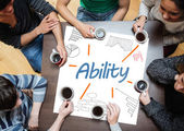 Ability written on a poster with drawings of charts — Stock Photo