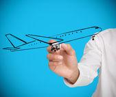 Zakenman tekening zwart vliegtuig — Stockfoto
