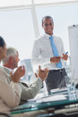 Manager is being applauded by colleagues — Stock Photo