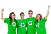Smiling group of environmental activists raising arms — Stock Photo