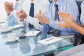 Group of business applauding in the boardroom — Stock Photo