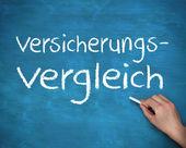 Hand writing german words versicherungs and vergleich — Stock Photo