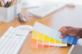 Interior designer holding colour charts — Stock Photo