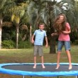 Siblings jumping on trampoline — Stock Video #27021185