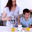 Stock Video: Family having breakfast
