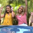 Friends having fun and dancing in the car — Stock Video #27021325