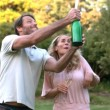 Man shaking a bottle of champagne — Stock Video