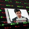 Screens showing business situations on stock market background — Stock Video