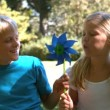 Siblings blowing pinwheel together — Stock Video #27022799