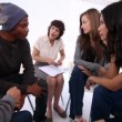 Stock Video: Patients of group therapy talking