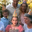 Happy family celebrating a birthday and clapping hands — Stock Video