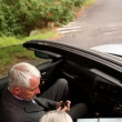 Couple in a silver car — Stock Video
