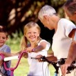 Grandparents and grandchildren on bikes — Stock Video