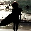 Silhouette of a woman holding surfboard on the beach — Stock Video
