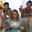 Woman celebrating her birthday — Wideo stockowe #27024829