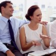 Attractive businesswoman discussing with colleagues — Stock Video