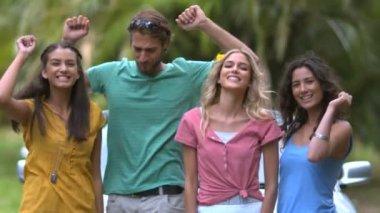 Friends dancing and having fun — Stock Video