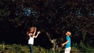 Trambolin üzerinde bir futbol ile eğlenmek kardeşler — Stok video