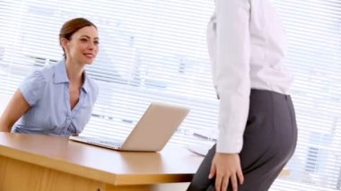 Businesswoman greeting job applicant — Stock Video