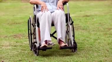 Senior woman in a wheelchair — Stock Video
