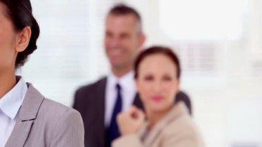 Happy businesswoman having a phone conversation — Stock Video