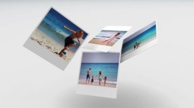 Instant photos of summer scenes floating — Stock Video