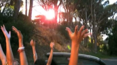 Friends raising their hands in the air while man is driving — Stock Video