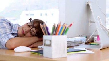 Pretty designer napping on her desk — Stock Video