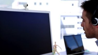 Creative designer having a video chat — Stock Video