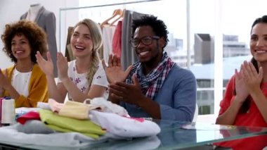 Fashion designers applauding together — Stock Video