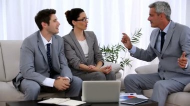 Group of business gesturing during a meeting — Stock Video