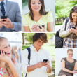 Stock Photo: Collage of people on phone