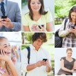 Stock fotografie: Collage of people on phone