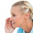 Close up of a blonde about to speak — Stock Photo #28046879