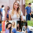 Collage of students at the university — Stock Photo