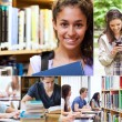 Collage of smiling students — Stock Photo