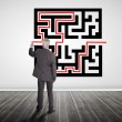 Stock Photo: Businessmdrawing line through quick response code