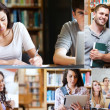Montage of pictures showing various students — Stock Photo
