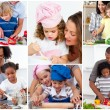 Collage of cute families — Stock Photo
