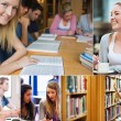 Collage of students in the library — Stock Photo