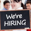 We're hiring written on chalkboard — Foto Stock #28049871