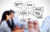 Businessman writing login terms — Stock Photo
