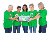 Team of female environmental activists holding box of recyclable — Stock Photo
